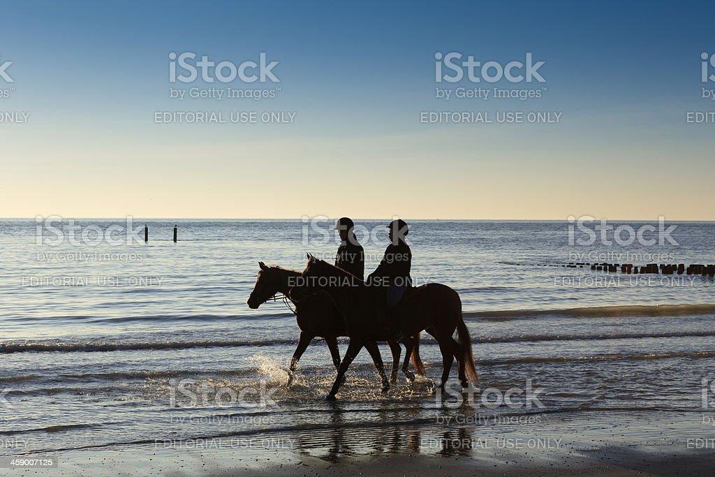horse riders along the Dutch coast royalty-free stock photo