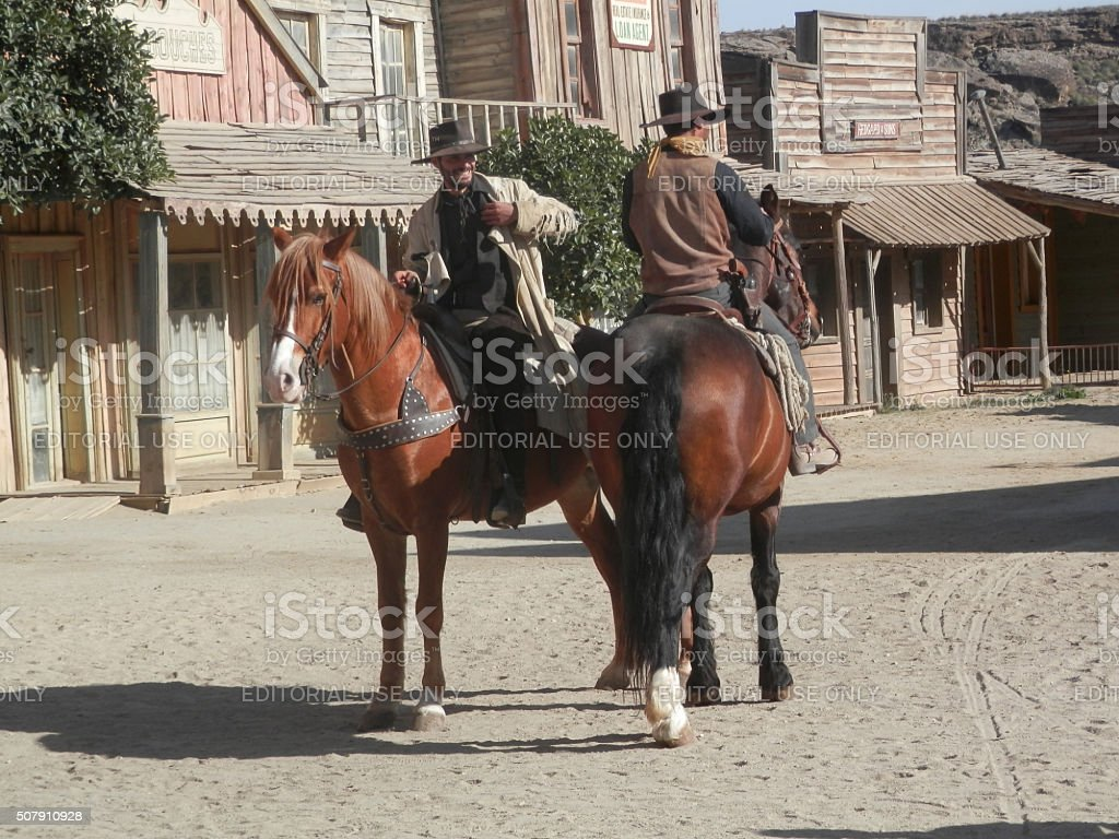Horse Riders on Film Set stock photo