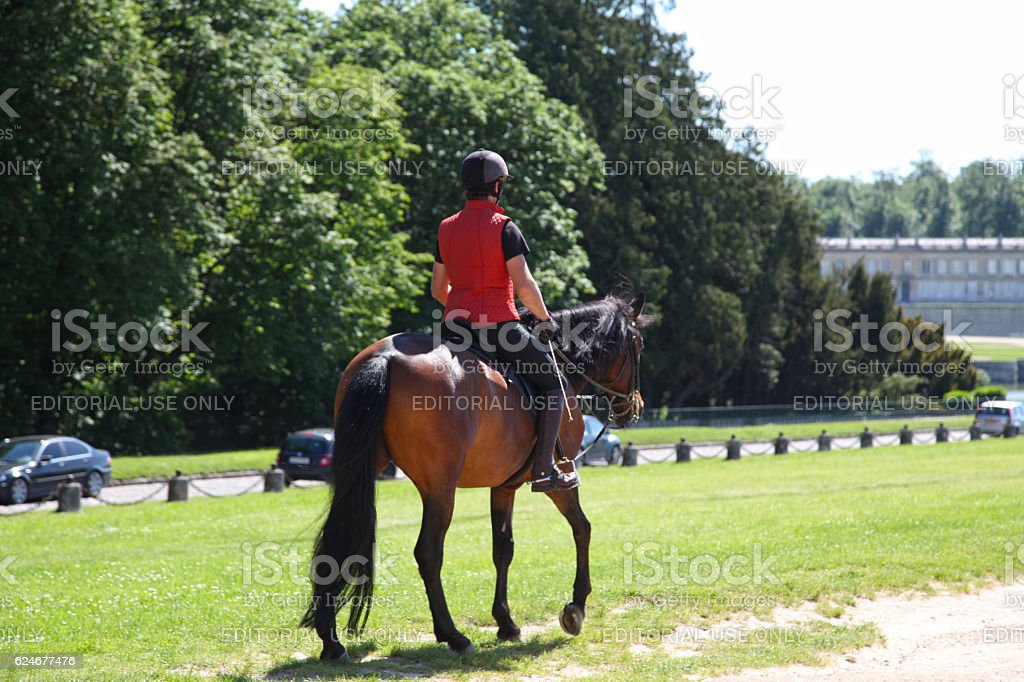 Horse riding in Chantilly stock photo