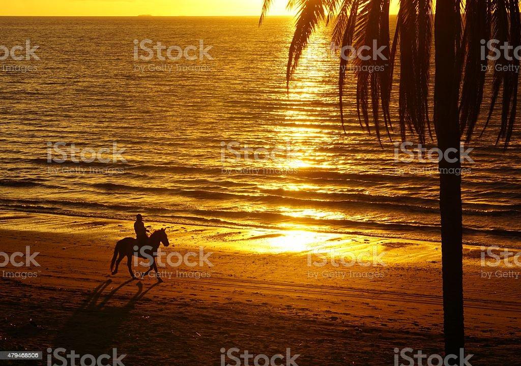Jazda konna na plaży o zachodzie słońca zbiór zdjęć royalty-free
