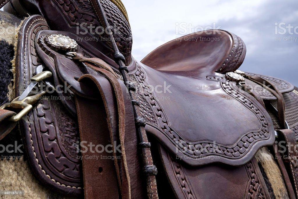 Horse Saddle Detail stock photo