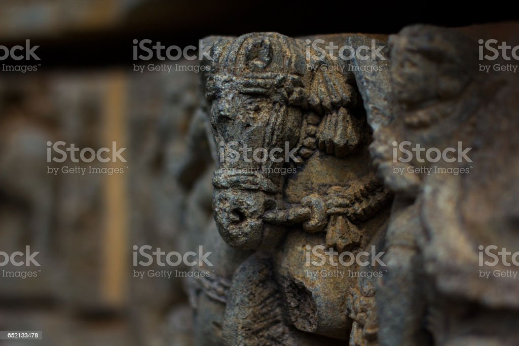 Horse sculpture under eves on shrine outer wall in the Chennakesava temple at Somanathapura, Karnataka, India, Asia stock photo