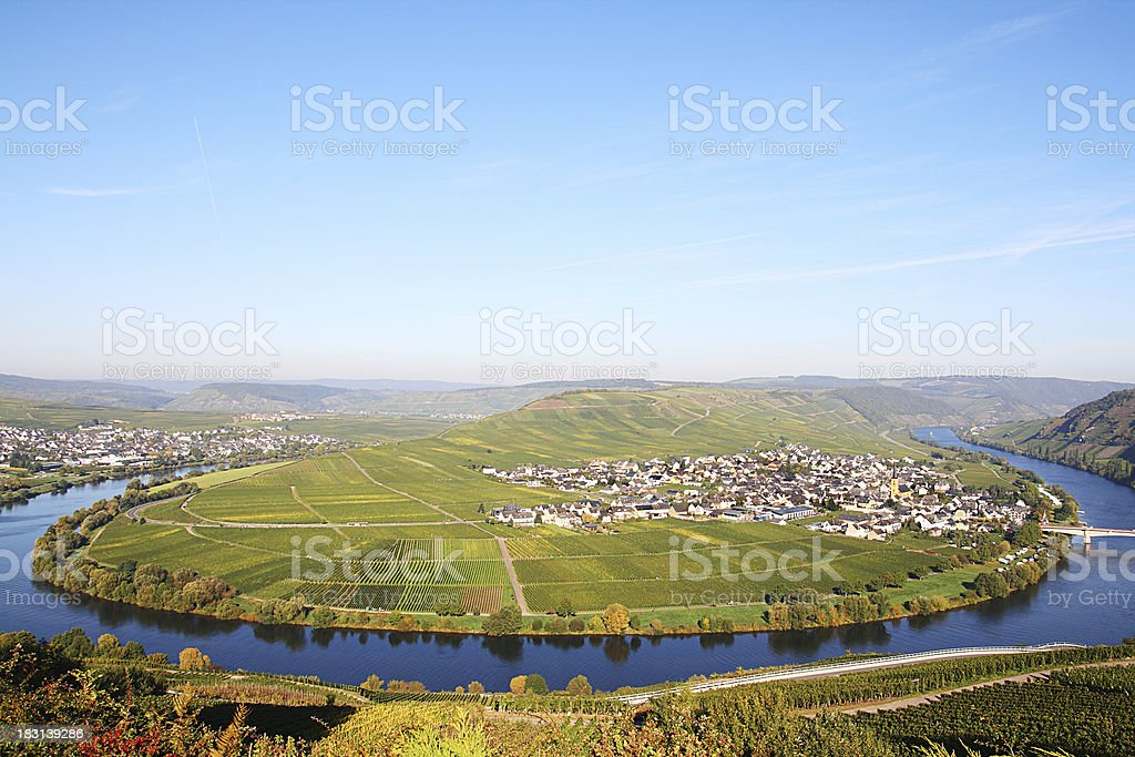 Horse shoe bend river Mosel with small village in vineyards royalty-free stock photo