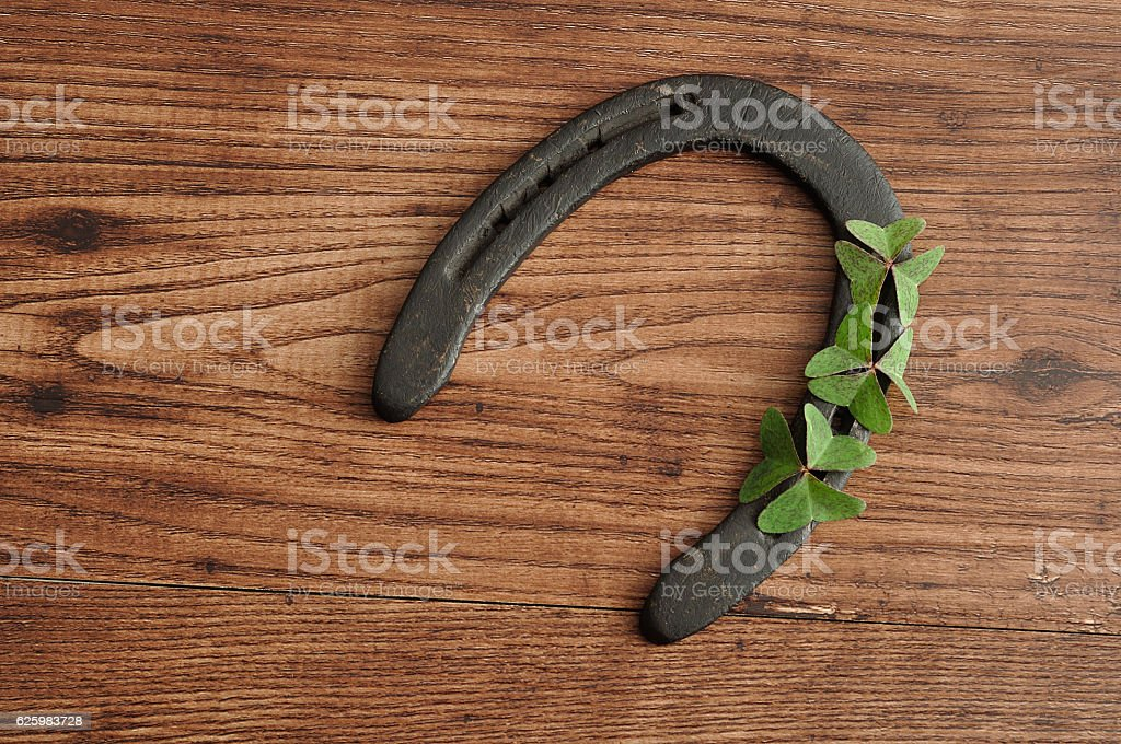 Horse shoe displayed with clovers for St. Patrick's day stock photo