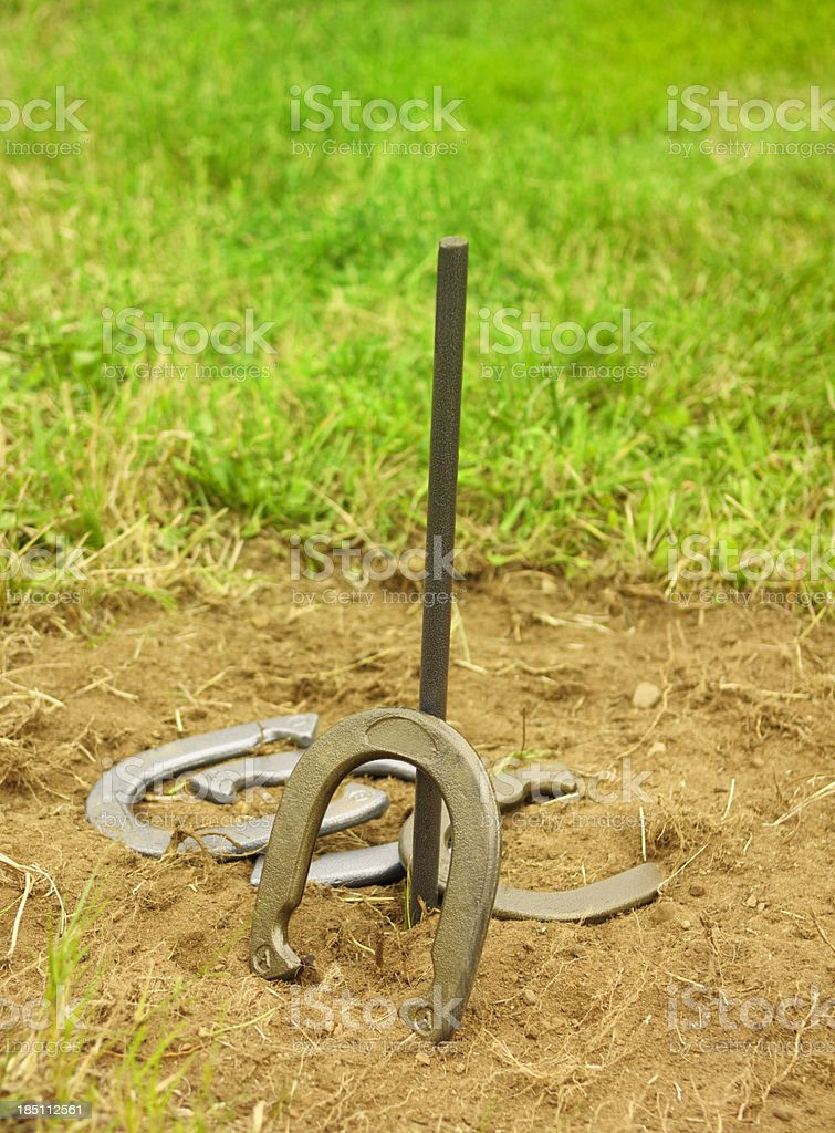 horse shoes the game royalty-free stock photo
