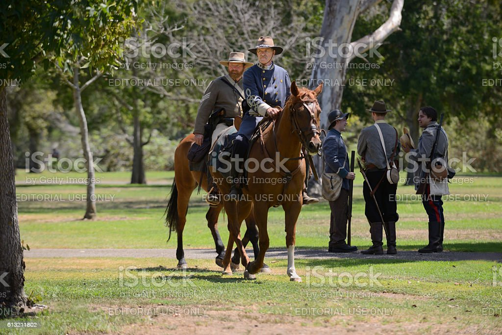 Horse soldiers stock photo