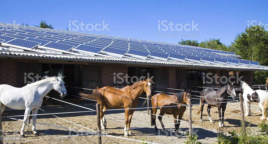 Horse Stable with Solar Panels royalty-free stock photo