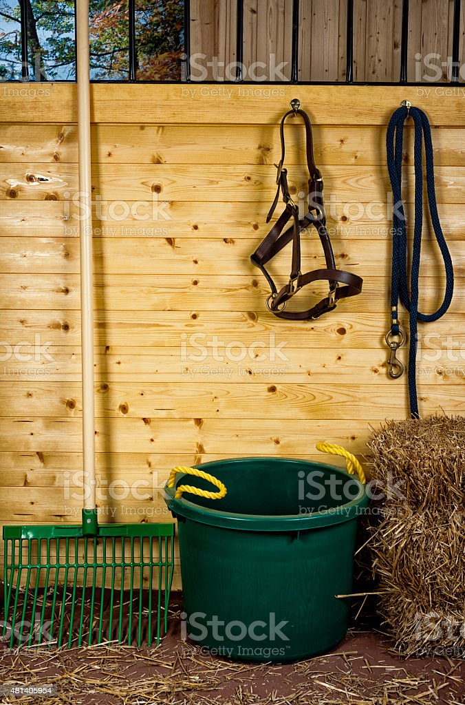 Horse stall tools, muck bucket and rake stock photo