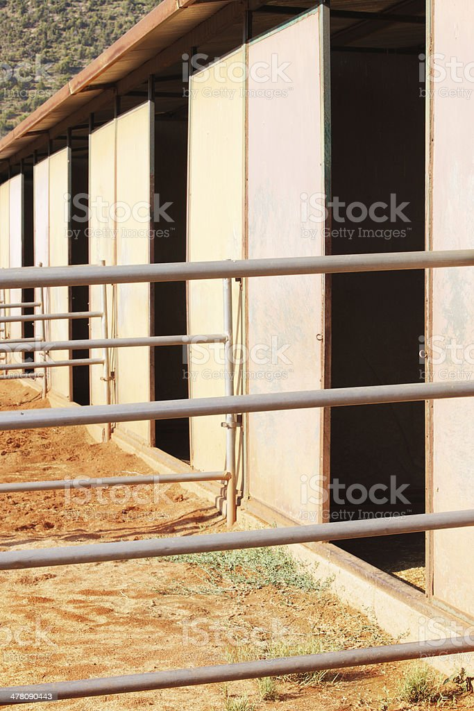 Horse Stalls Corral Stable Doors stock photo