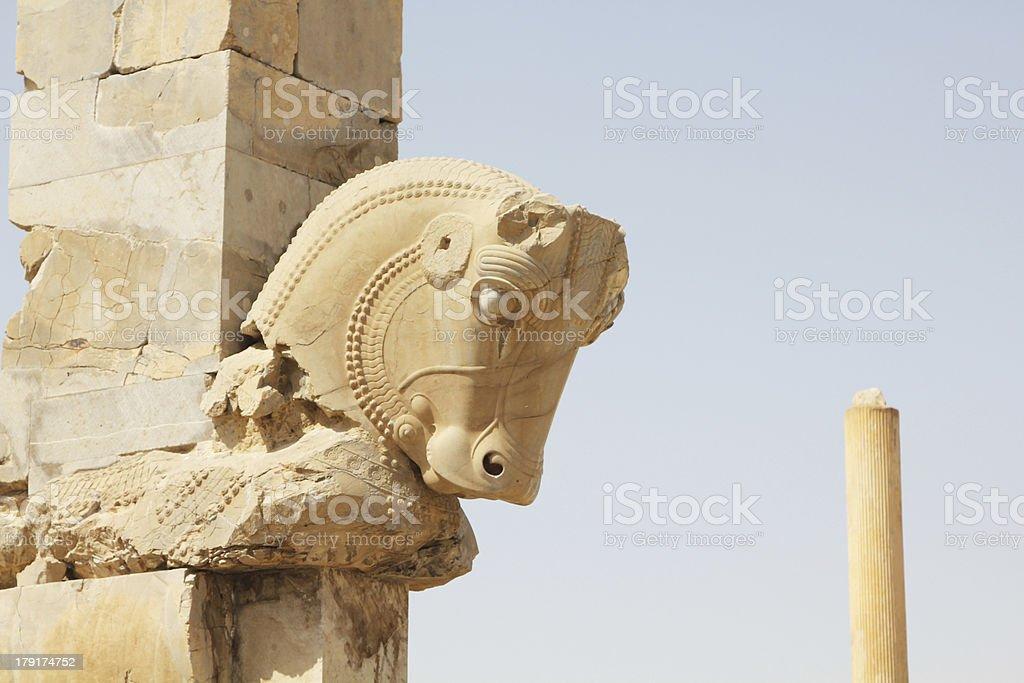 Horse statue in Persepolis (Iran) stock photo