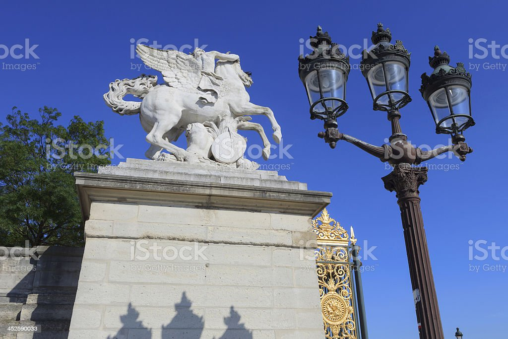 horse statue of Mercury riding Pegasus in Paris stock photo