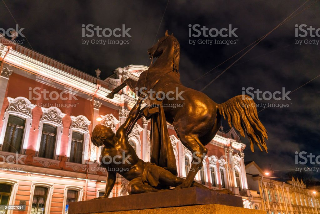 Horse tamers bronze statues of Anichkov Bridge in Saint Petersburg stock photo