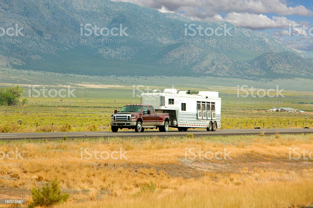 horse trailer stock photo