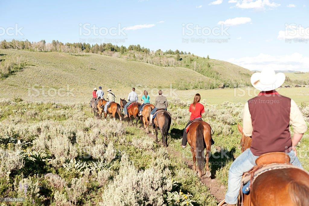 Horseback rides stock photo