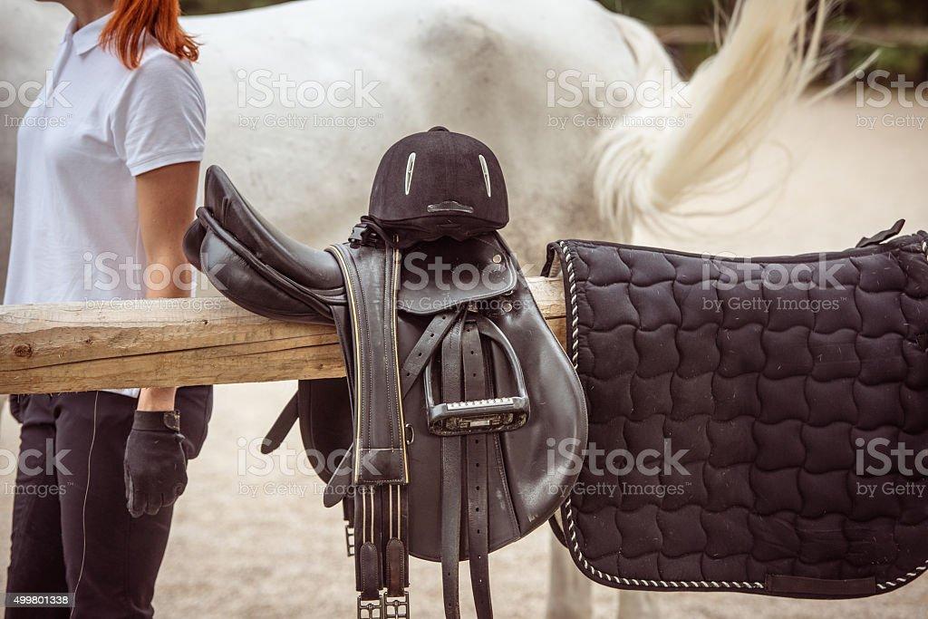 Horseback riding accessories stock photo