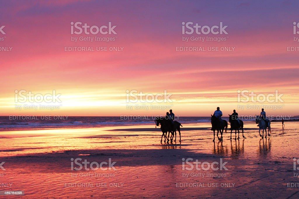 Horseback riding at the beach at sunset stock photo