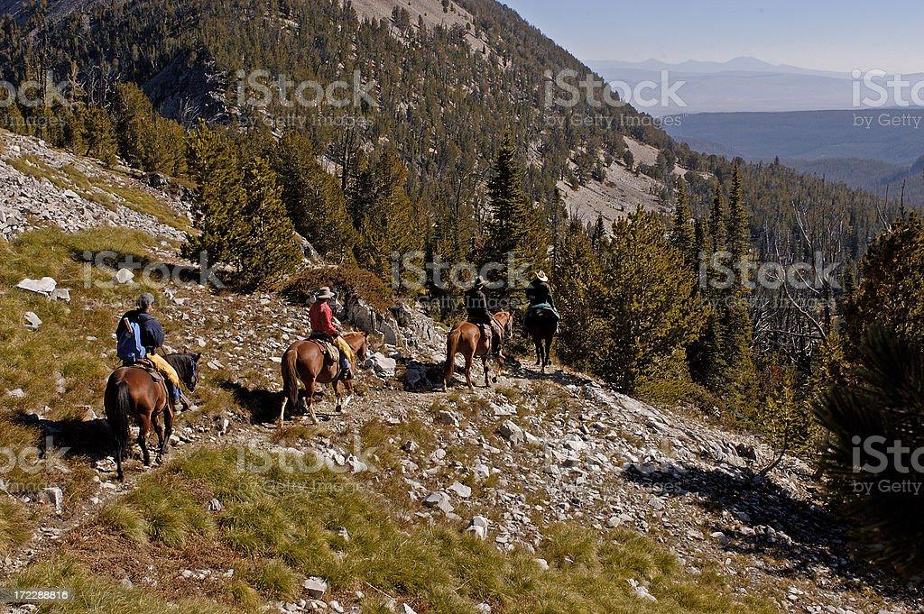Horseback Riding in the Bitterroot royalty-free stock photo