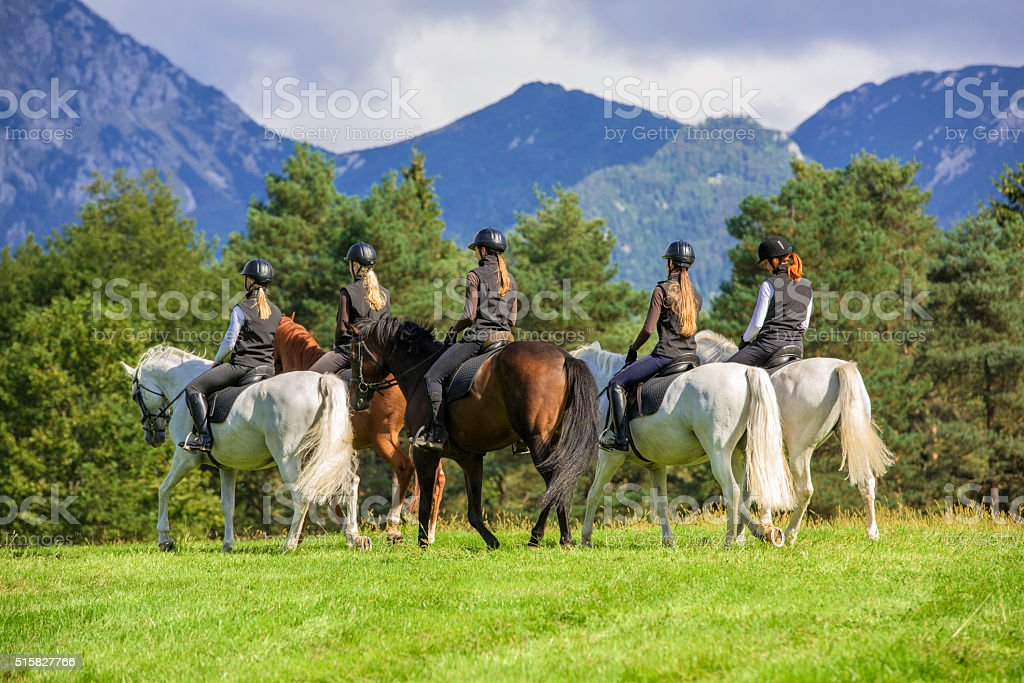 Horseback Riding in the Countryside stock photo