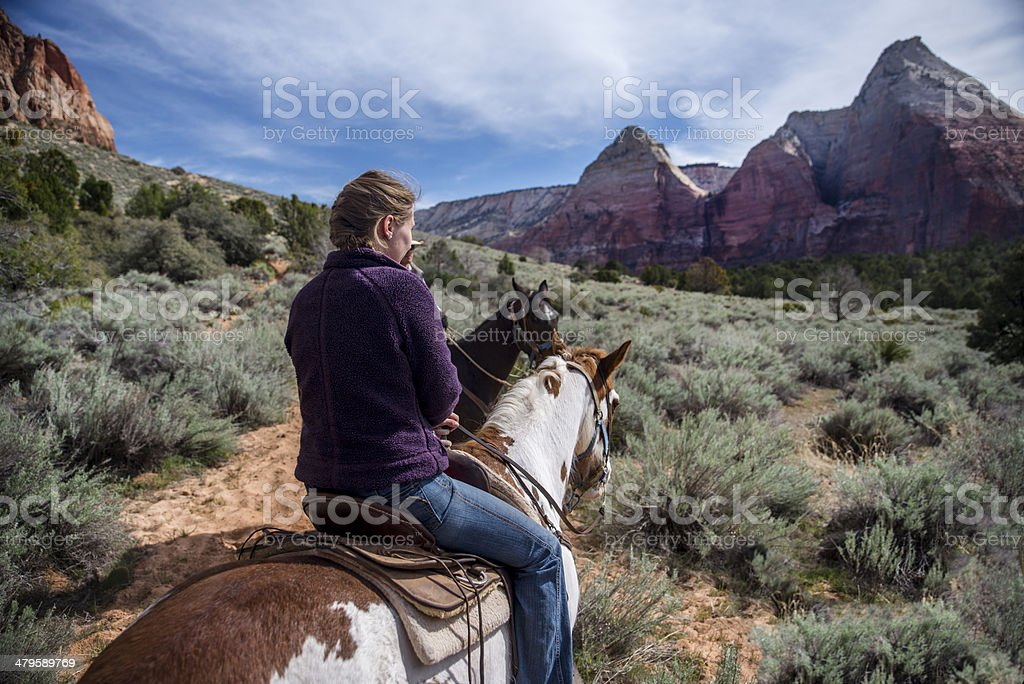 Horseback Riding in Zion National Park stock photo
