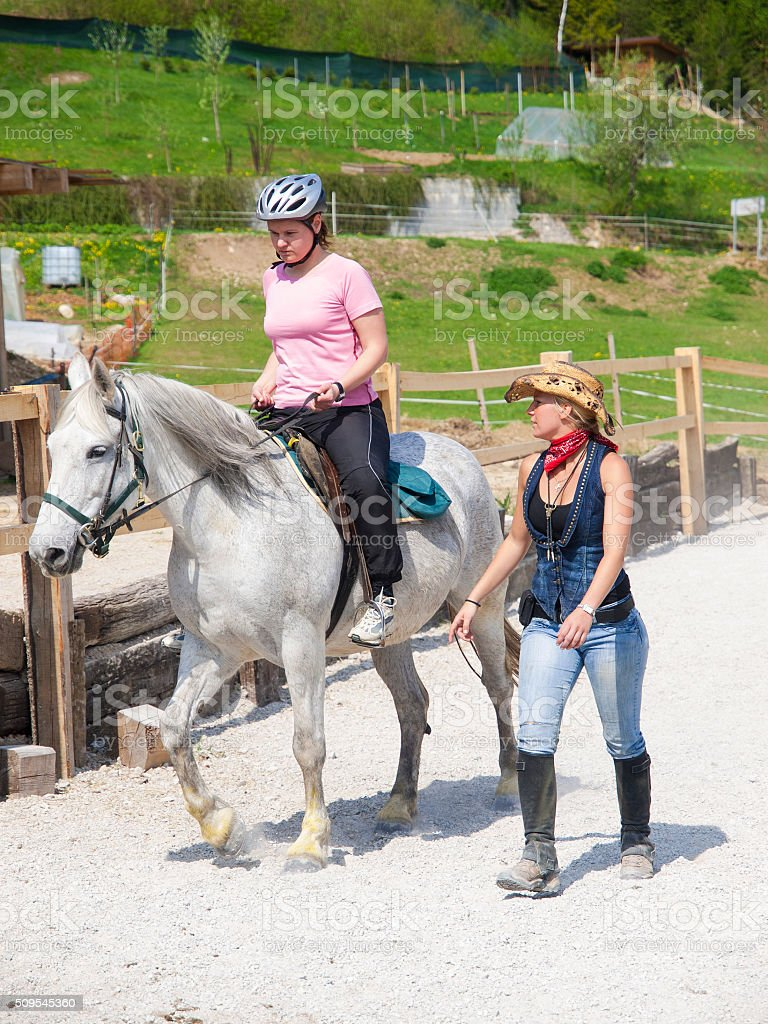 Horseback riding learning from Lonza stock photo