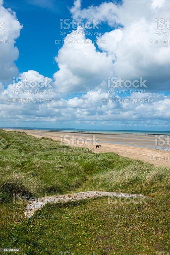 Horseback riding on Utah Beach, Normandy, France stock photo