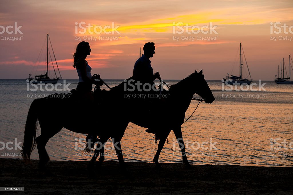 Horseback silhouette stock photo