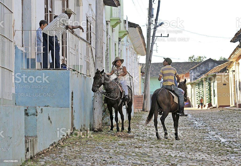 Horsebackchat, Triidad, Cuba stock photo