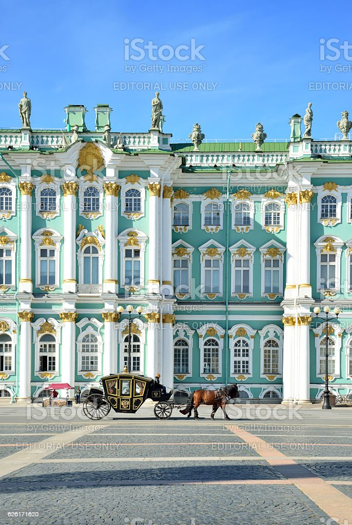 Horse-drawn carriage in front of the Winter Palace stock photo