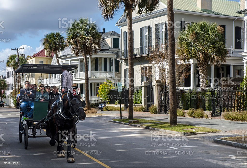 Horse-Drawn Carriage in Historic Charleston, South Carolina stock photo