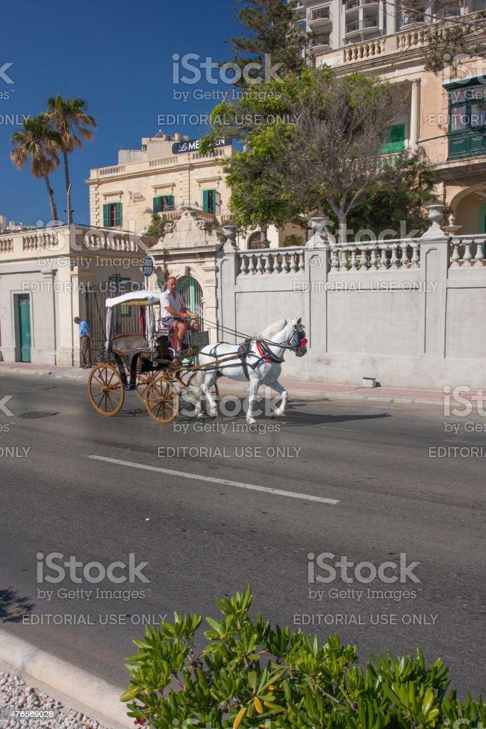 Horse-drawn carriage in Malta stock photo