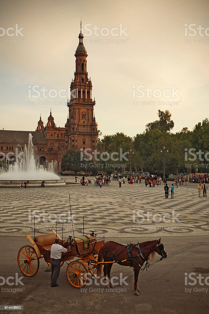 Horse-drawn carriage, Sevilla royalty-free stock photo
