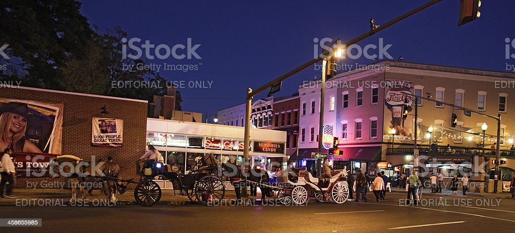Horse-drawn carriages awaiting hire, Beale St, Memphis TN royalty-free stock photo