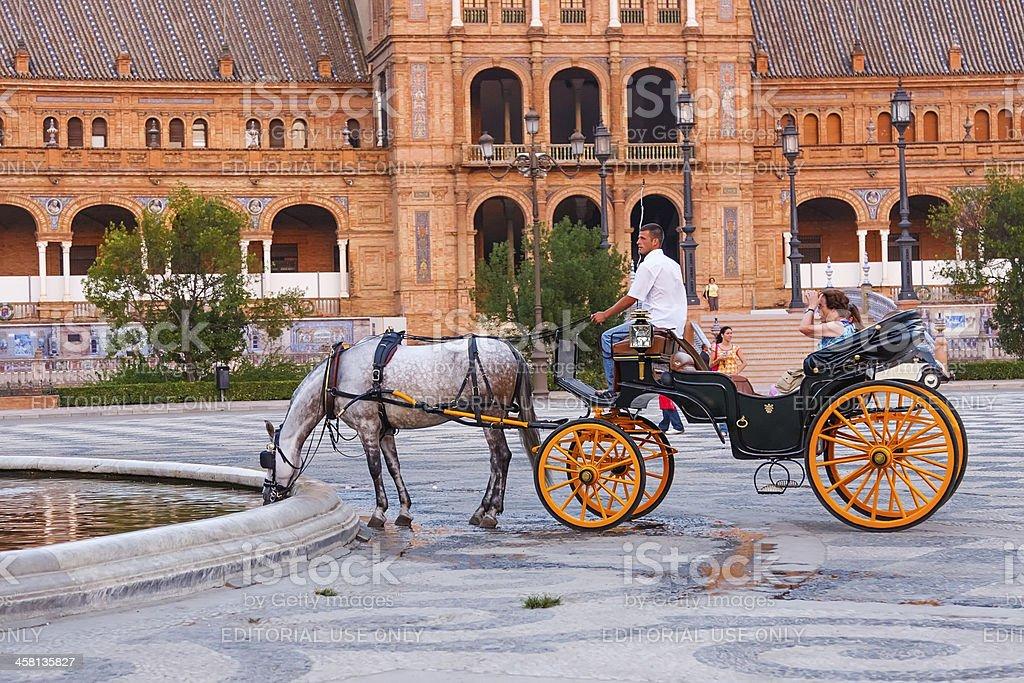 Horsedrawn cart on Plaza de Espana, Seville, Spain royalty-free stock photo