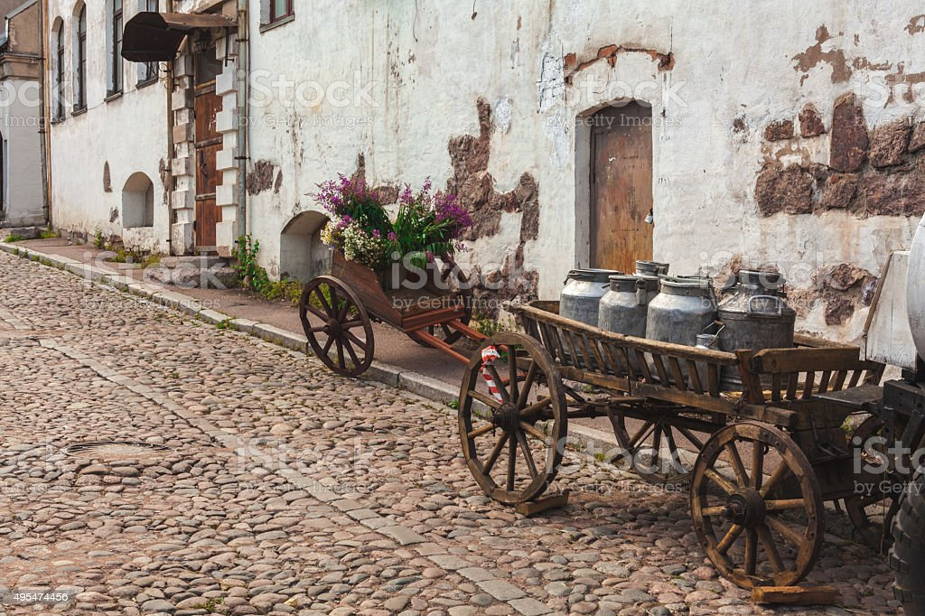 Horse-drawn cart with milk stock photo