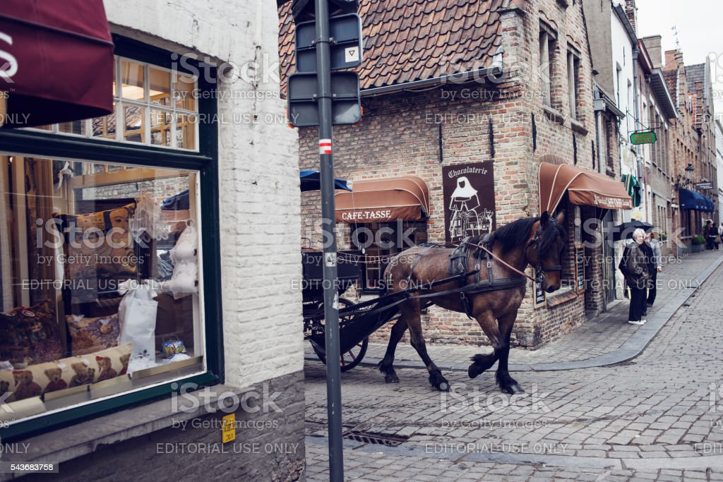 Horsedrawn in Bruge, Belgium. stock photo