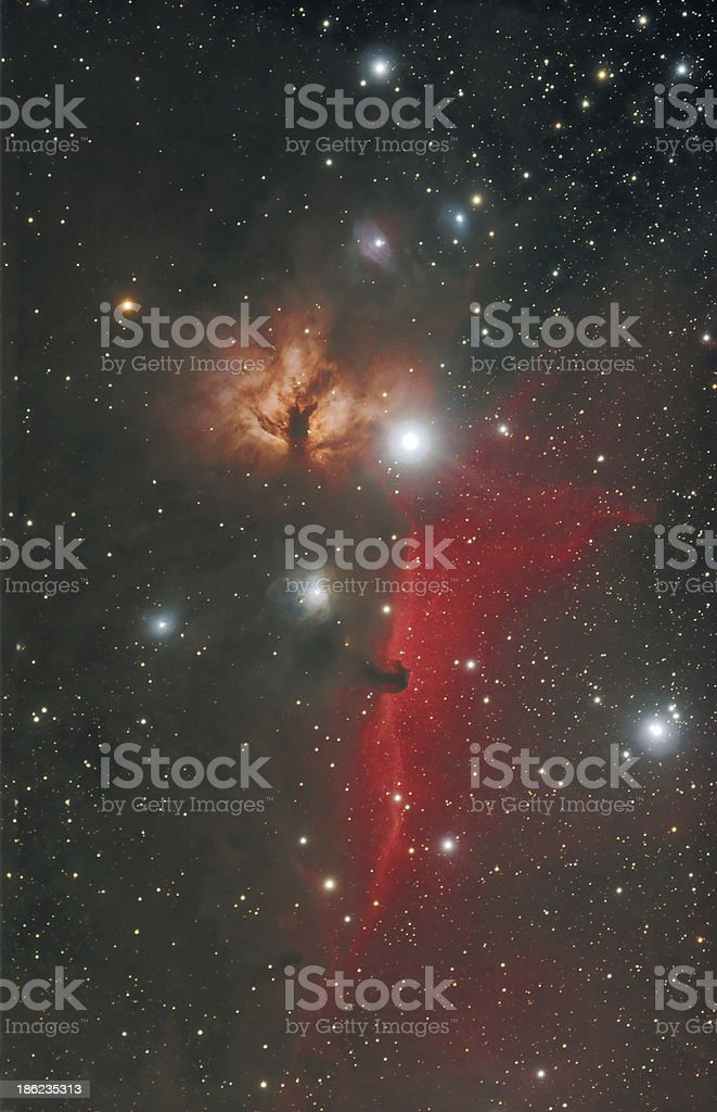 Horsehead and Flame Nebula in Orion Constellation stock photo