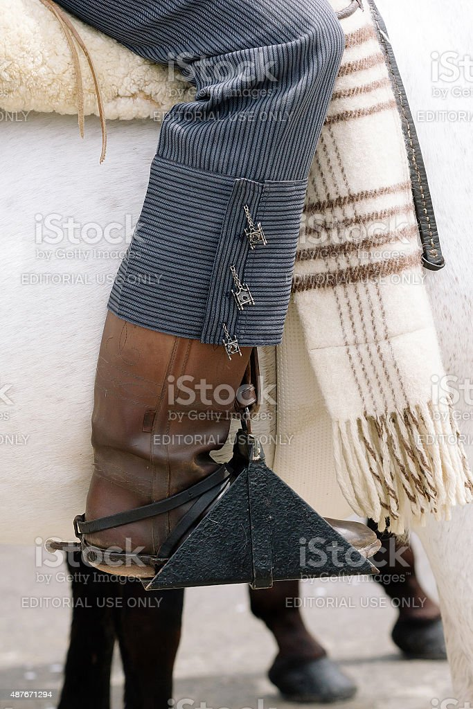 Horseman boot at the Seville's stock photo