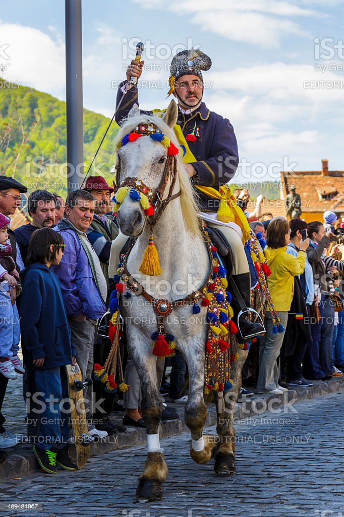 Horseman greeting the audience stock photo