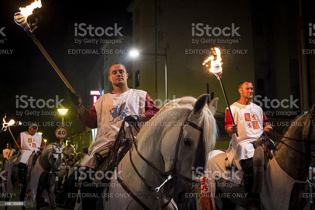 Horsemen at night stock photo