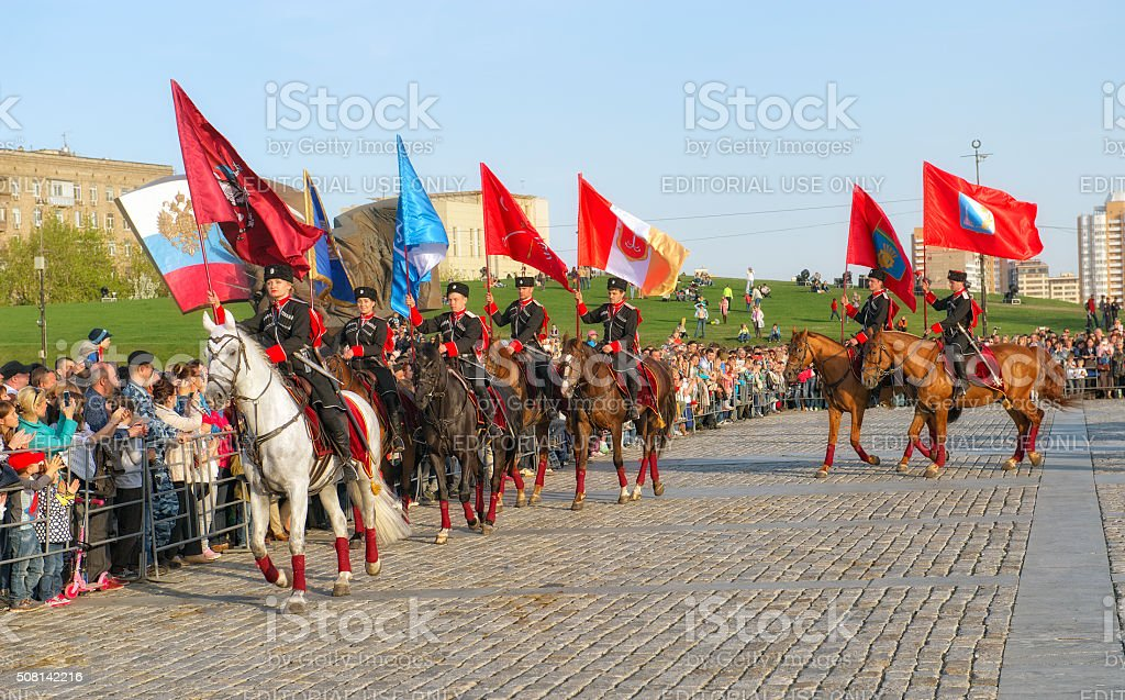 Horsemen of the Kremlin Riding School, Moscow stock photo