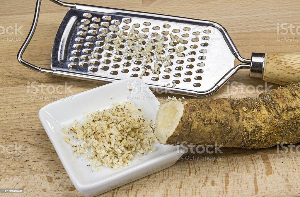 Horseradish and rasp stock photo