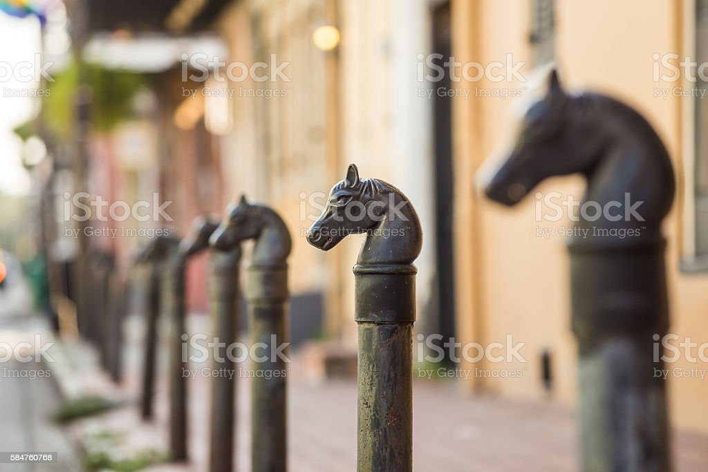 Horses head design in Bourbon Street in the French Quarter stock photo