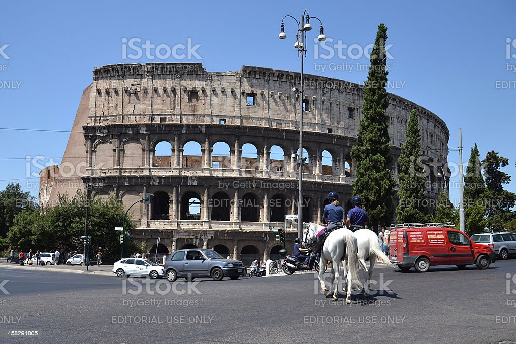 Horses in front of Colosseum royalty-free stock photo