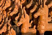 Horses Pottery Art in India made up of clay Horizontal
