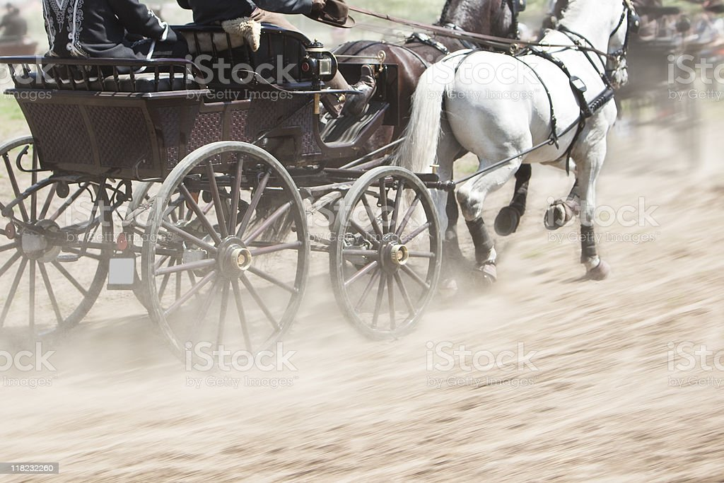 horses pulling carriage stock photo