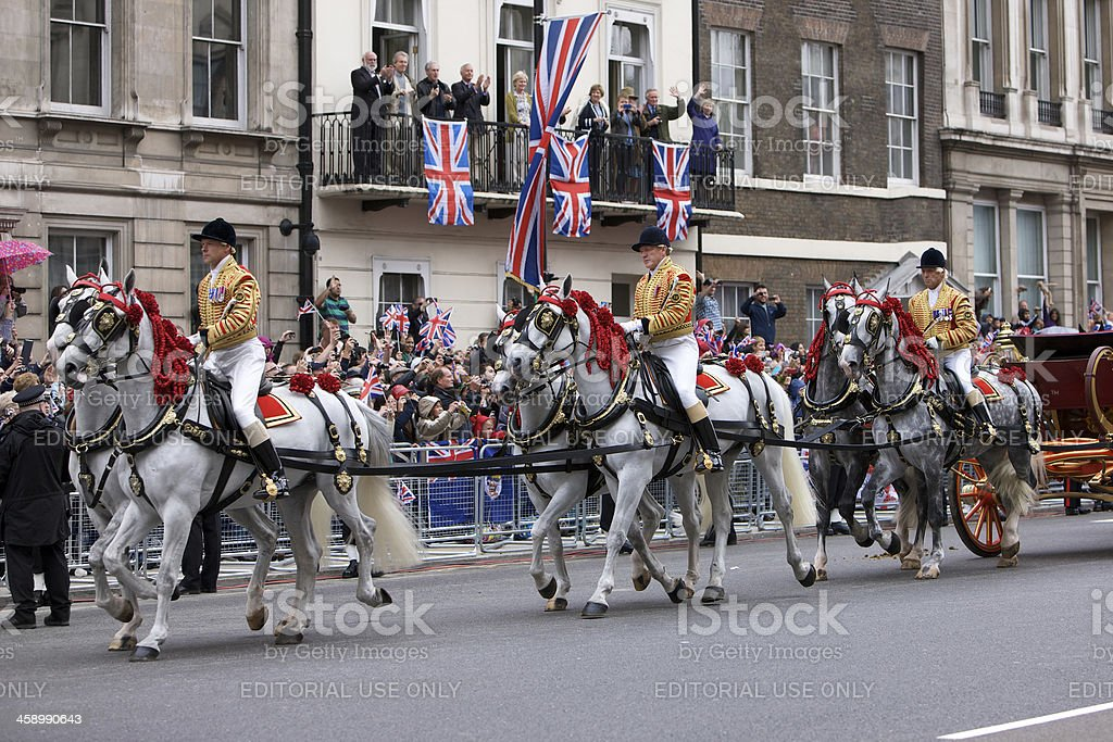 Horses pulling the Queens Landau at Diamond Jubilee procession. stock photo