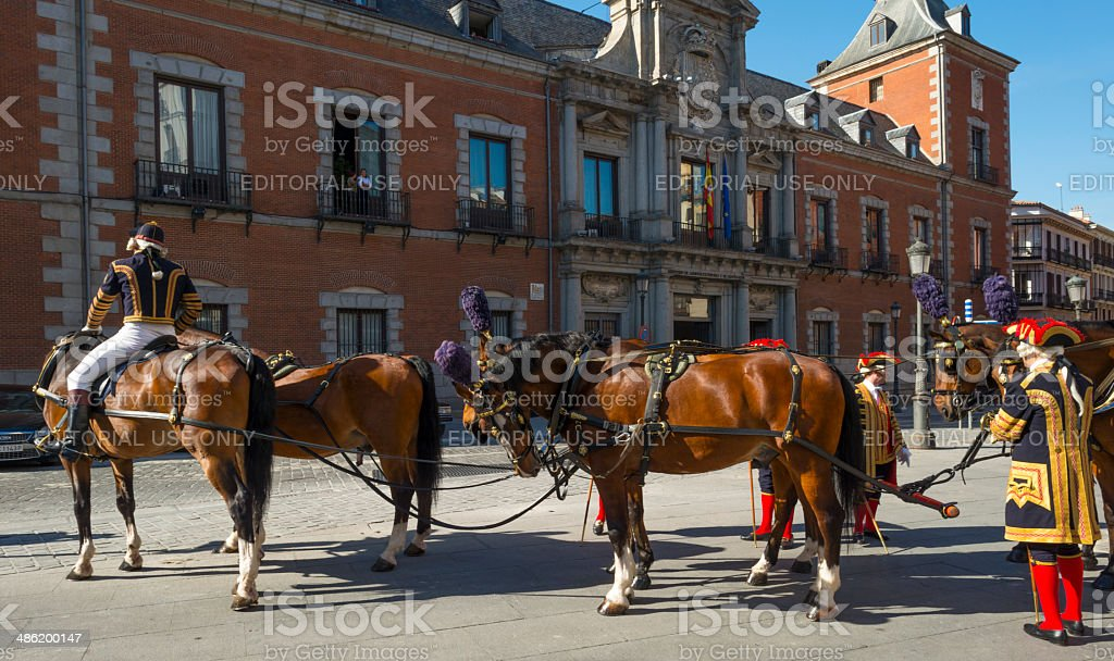 Horses waiting for a new ambassador in Madrid in Spain stock photo