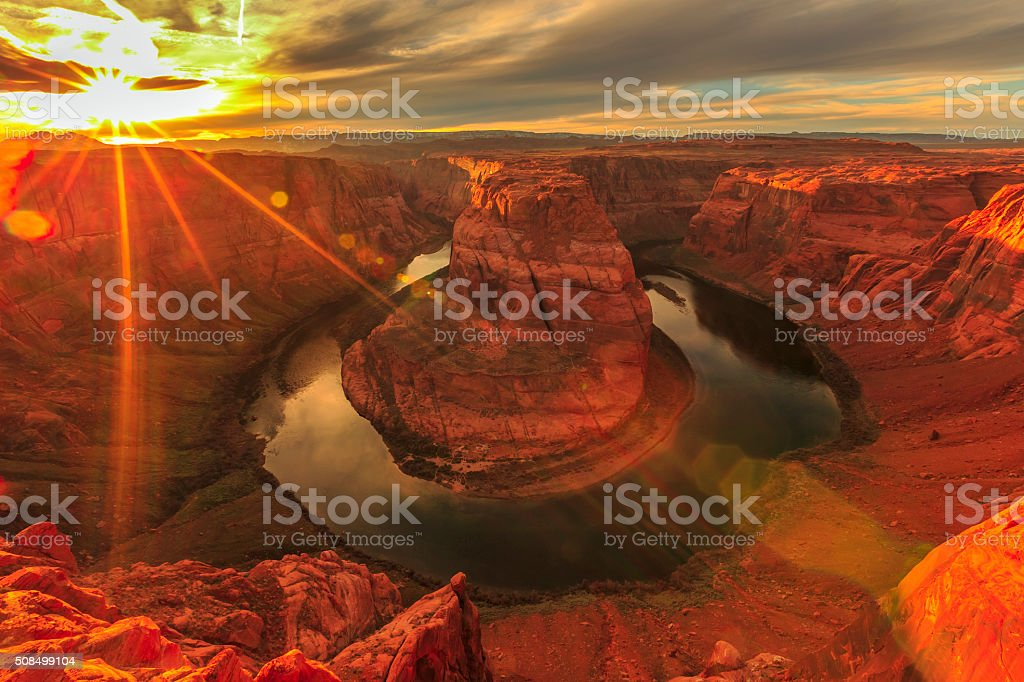 Horseshoe Bend at Sunset stock photo