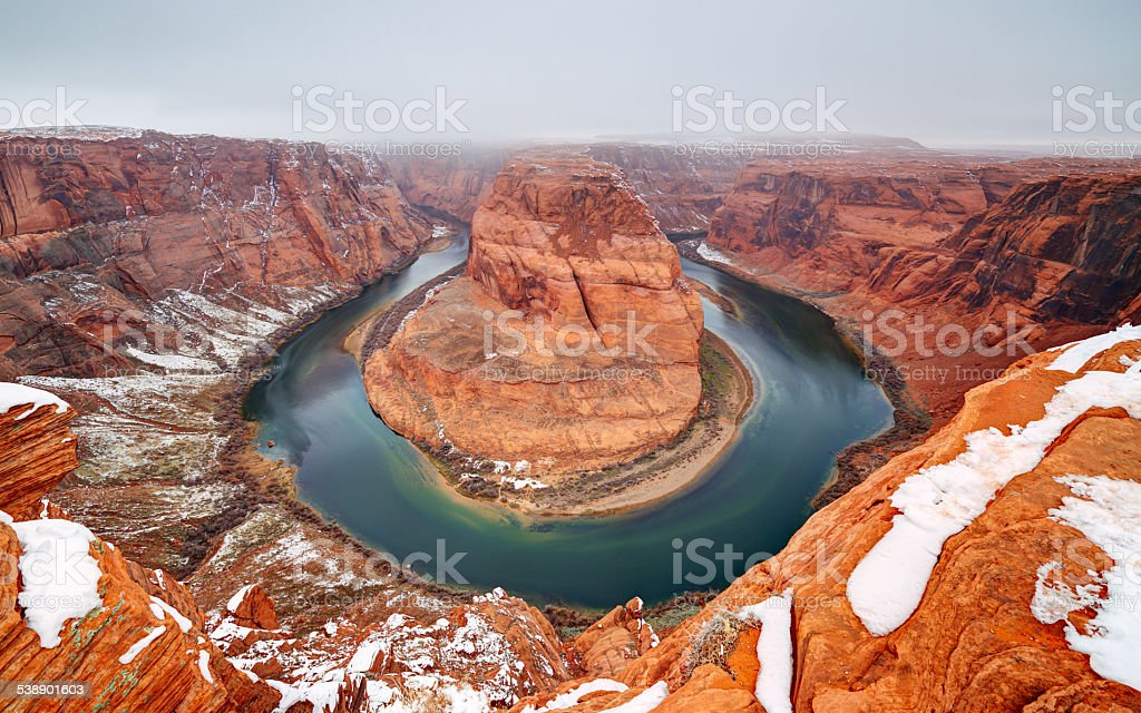 Horseshoe Bend in Winter stock photo