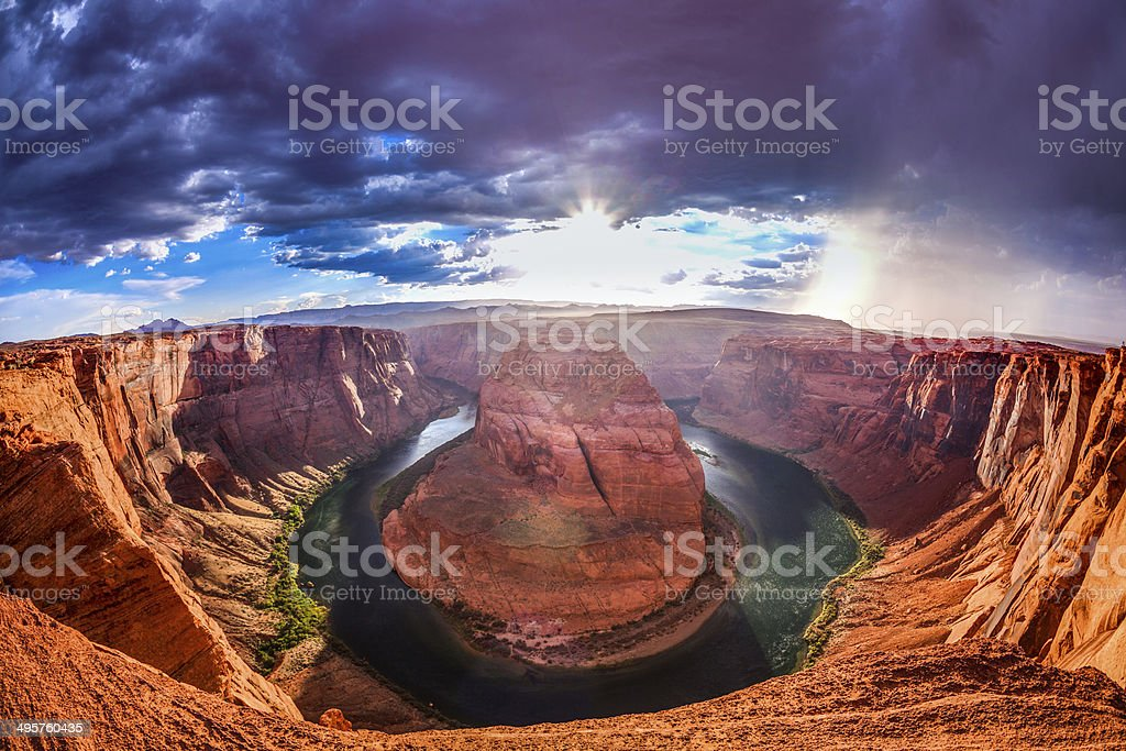 Horseshoe Bend on Colorado River, Page, Arizona, USA stock photo